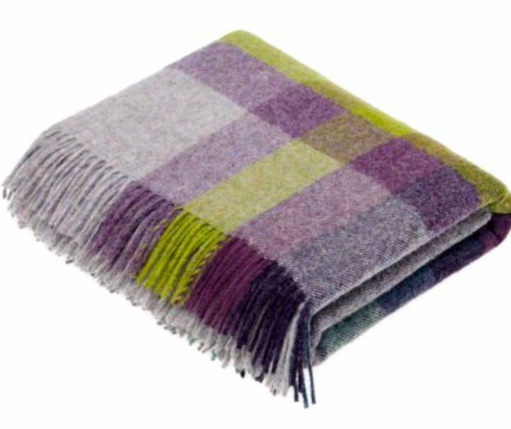 BRONTE by Moon Harley Stripe Blackcurrant Check Throw Pure New Wool