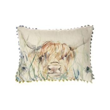 Voyage Bramble View Highland Cow Rectangular Mini Arthouse Small Cushion 25 x 35cm