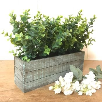 Eucalytus Wooden Trough / Planter - Faux Potted Plant