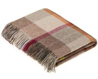 BRONTE by Moon Beige Multi Patchwork Throw in supersoft Merino Lambswool