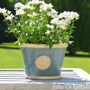 Kew Low Planter Pot Green Smoke - Royal Botanic Gardens Plant Pot - Small
