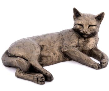 Polly Contented Cat Lying Frith Bronze Sculpture by Paul Jenkins