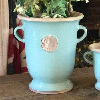Kew Royal Botanic Gardens Footed Vase in Tiffany Blue - Tall