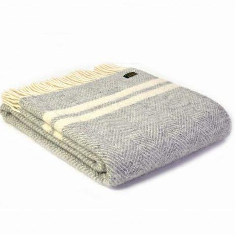 Tweedmill Silver Grey & Cream Stripe Herringbone Pure New Wool Throw Blanke