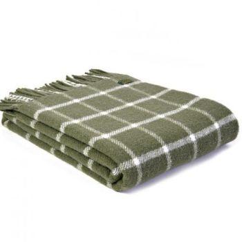 Tweedmill Classic Check Olive Green Windowpane Pure New Wool Throw Blanket