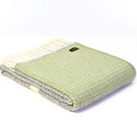 Tweedmill Fern Green & Grey Colour Band Pure New Wool Throw Blanket