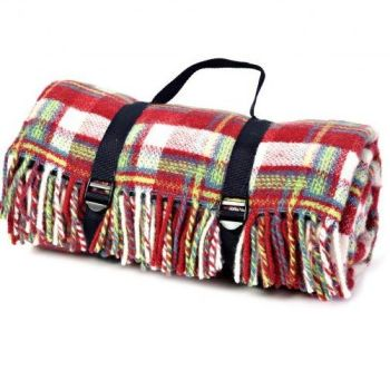 WATERPROOF Backed Wool Picnic DESIGNER Rug / Blanket Rich Red/Cream Multi  with Practical Carry Strap.