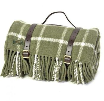 WATERPROOF Backed Wool Picnic Rug / Blanket in Classic Olive Check with Leather Carry Strap