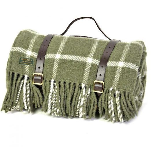 WATERPROOF Backed Wool Picnic Rug / Blanket in Classic Olive Check with Lea