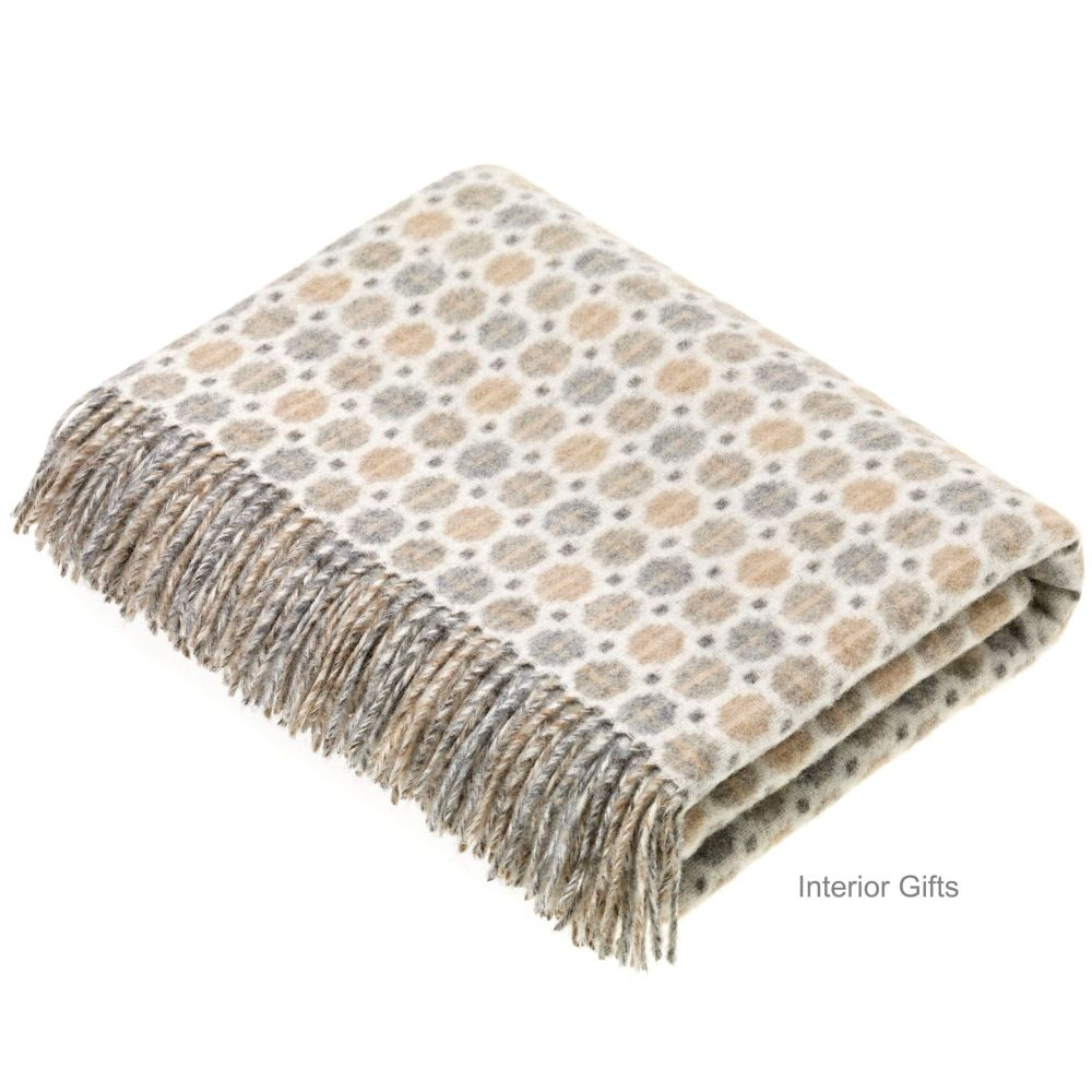 BRONTE by Moon Milan Natural Beige Throw in Supersoft Merino Lambswool