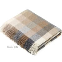 BRONTE by Moon Harlequin Natural Beige Throw in supersoft Merino Lambswool