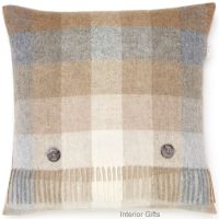 BRONTE by Moon Cushion - Harlequin Natural Beige Check Merino Lambswool