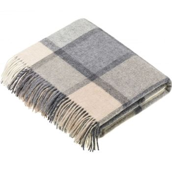 BRONTE by Moon Square Check Grey/Cream Throw in Supersoft Merino Lambswool