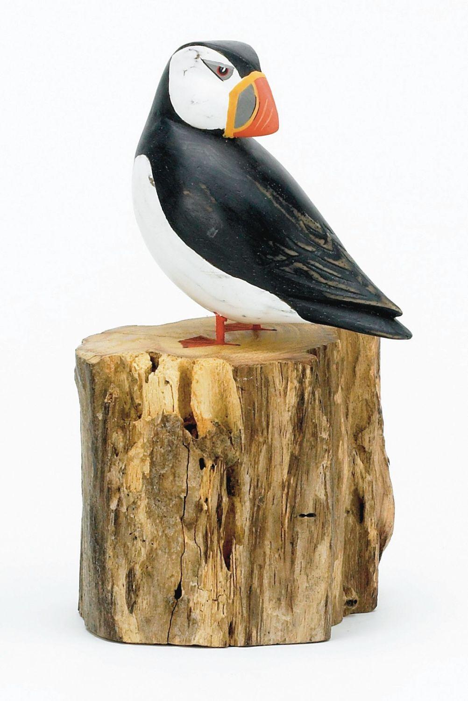 Archipelago Puffin Preening Small Bird Wood Carving