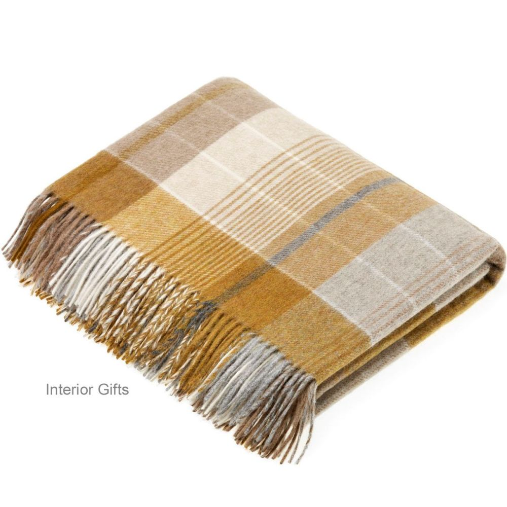 BRONTE by Moon Florence Gold Check Throw in Supersoft Merino Lambswool