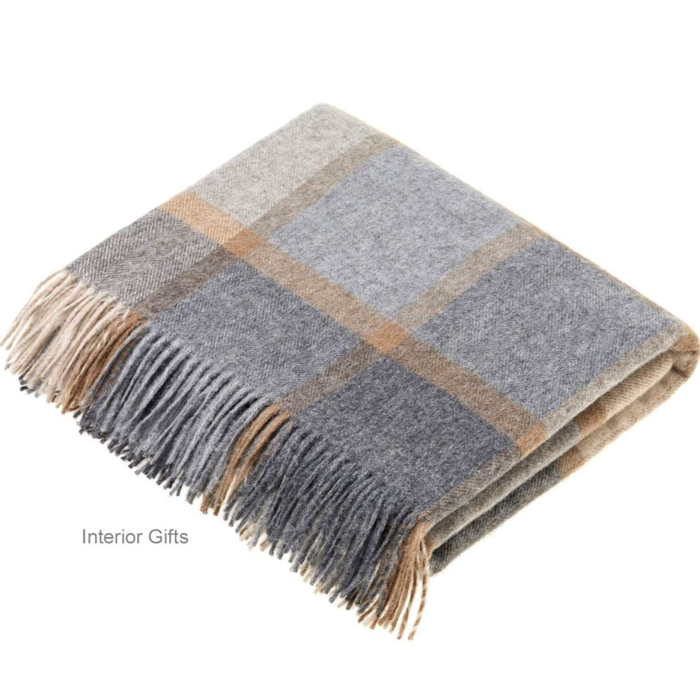 BRONTE by Moon Beige & Grey Square Check Windowpane Throw in Supersoft Meri