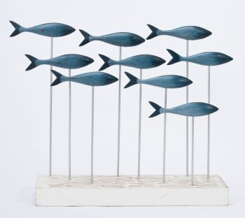 Archipelago Blue Fish Shoal Wood Carving - Small