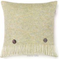 BRONTE by Moon Cushion - Herringbone Light Sage Green Shetland Wool