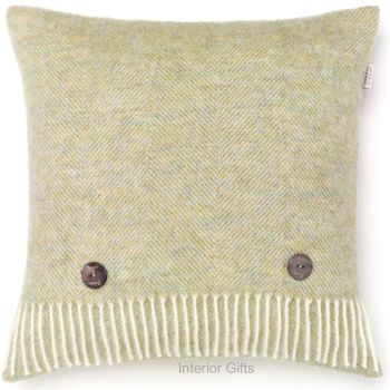 BRONTE by Moon Cushion - Herringbone Light Sage Green Shetland Wool