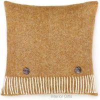 BRONTE by Moon Cushion - Herringbone Gold Shetland Wool