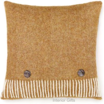 BRONTE by Moon Cushion - Herringbone Gold Shetland Wool