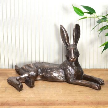 Bluebell Hare Lying Down Cold Cast Bronze Sculpture by Harriet Glen