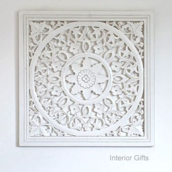 Hand Carved Decorative White Wooden Panel Framed Edge - 60 cm square
