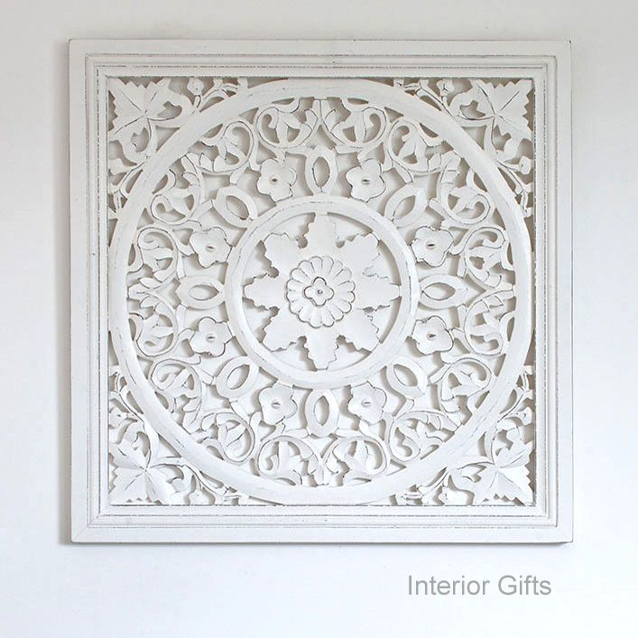Hand Carved Decorative White Wooden Panel