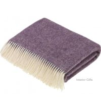 BRONTE by Moon Herringbone Throw Blanket Lavender Shetland Wool
