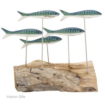 Archipelago Small Mackerel Shoal Wood Carving