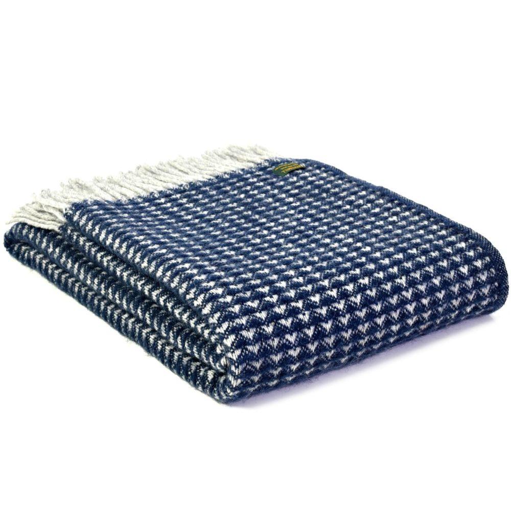 Tweedmill Treetop Navy Blue Throw Blanket Pure New Wool
