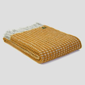 Tweedmill Treetop English Mustard  Knee Rug or Small Blanket Throw Pure New Wool