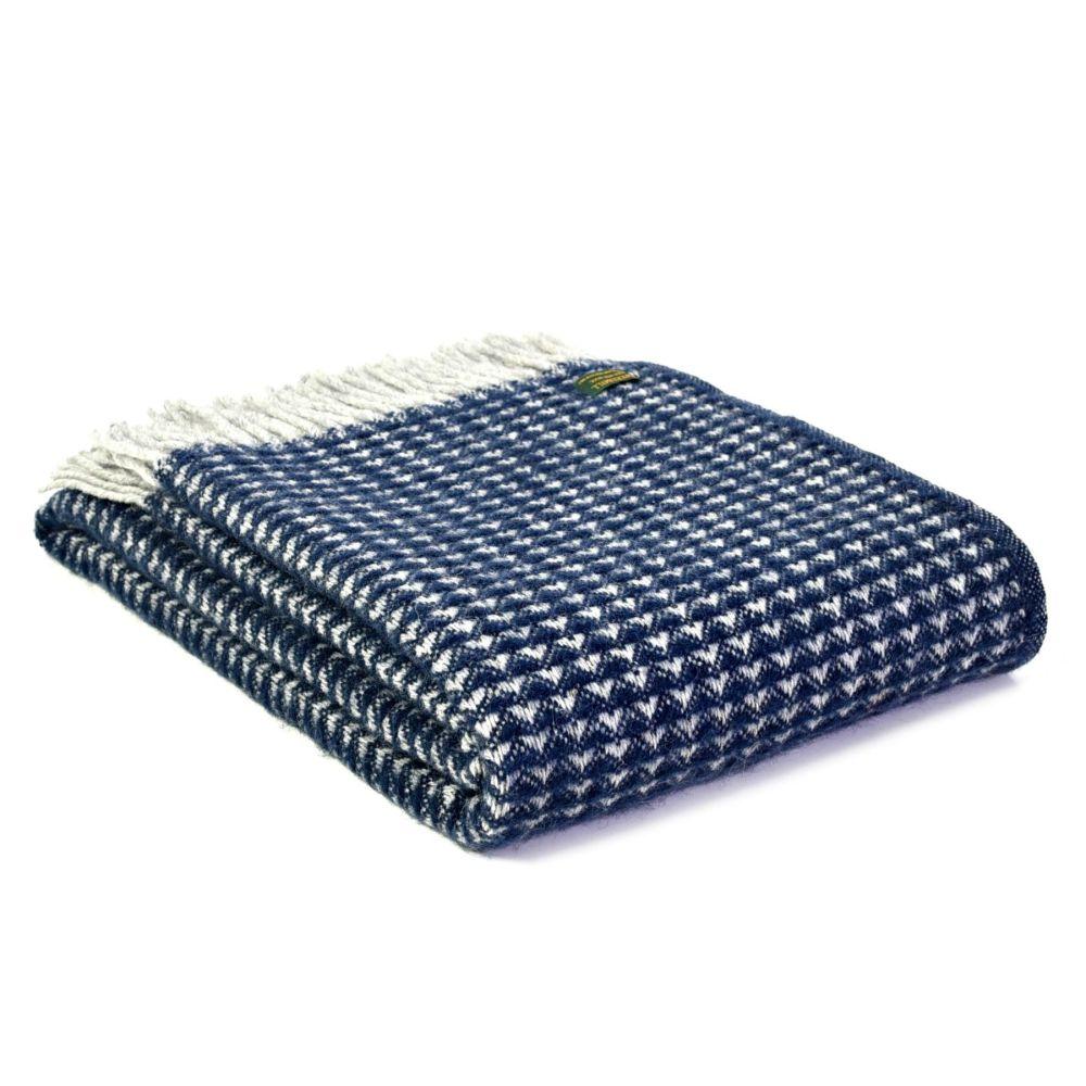 Tweedmill Treetop Navy Blue Knee Rug or Small Blanket Throw Pure New Wool