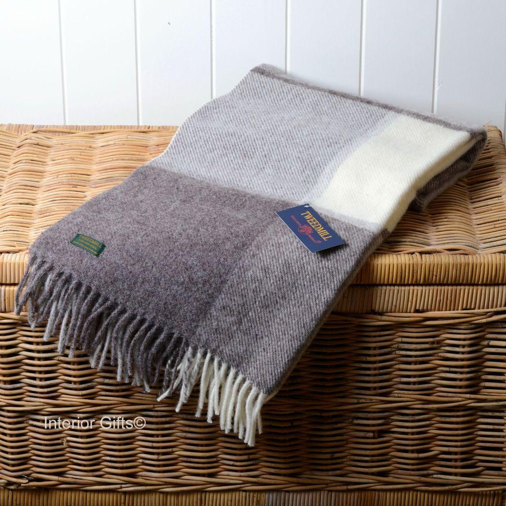 Tweedmill Multi Check Natural Beige & Cream Pure New Wool Throw Blanket