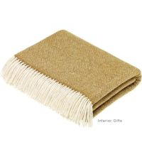 BRONTE by Moon Parquet Gold & Cream Throw in Supersoft Merino Lambswool