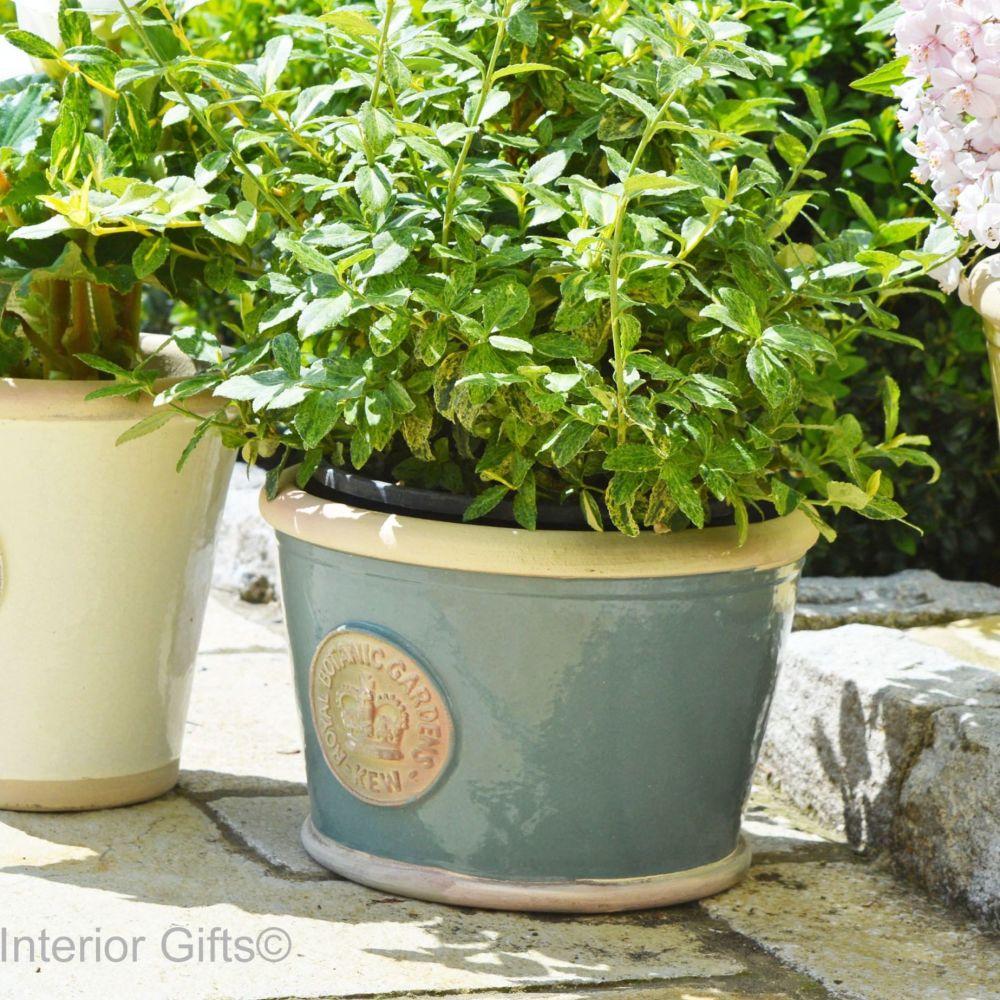Kew Low Planter Pot Green Smoke - Royal Botanic Gardens Plant Pot - Medium