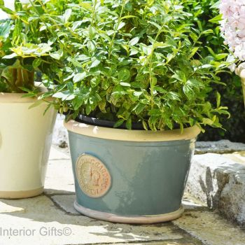 Kew Low Planter Pot Green Smoke - Royal Botanic Gardens Plant Pot - Medium