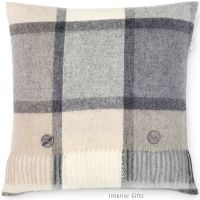 BRONTE by Moon Cushion - Square Windowpane Check Grey & Cream Lambswool