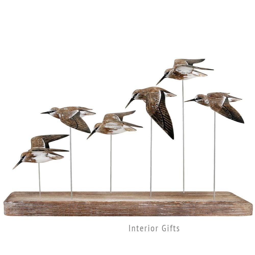 Archipelago 'Dunlin Flock' Six Dunlin Birds in Flight Wood Carving