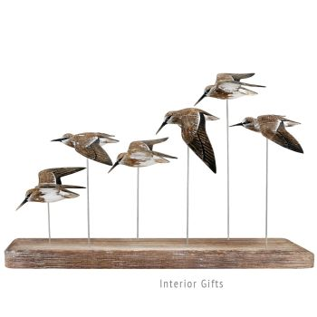 Archipelago 'Dunlin Flock' Six Dunlin Birds in Flight Wood Carving