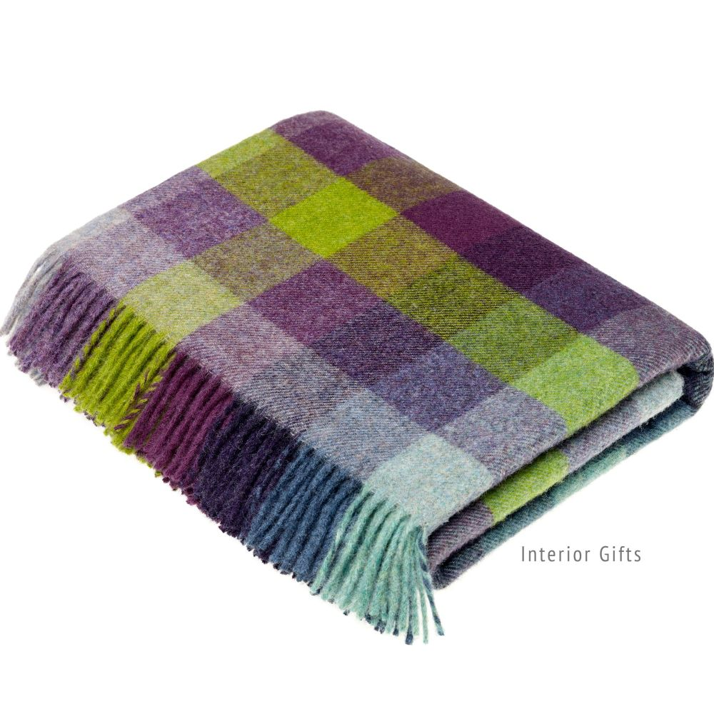BRONTE by Moon Harlequin Blackcurrant Throw Pure New Wool