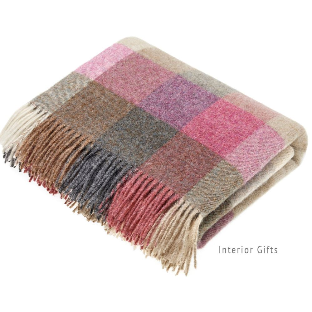 BRONTE by Moon Harlequin Heather Throw Pure New Shetland Wool