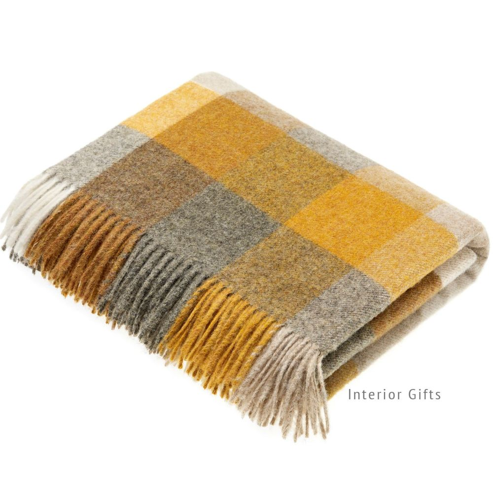 BRONTE by Moon Harlequin Mustard Throw Pure New Shetland Wool