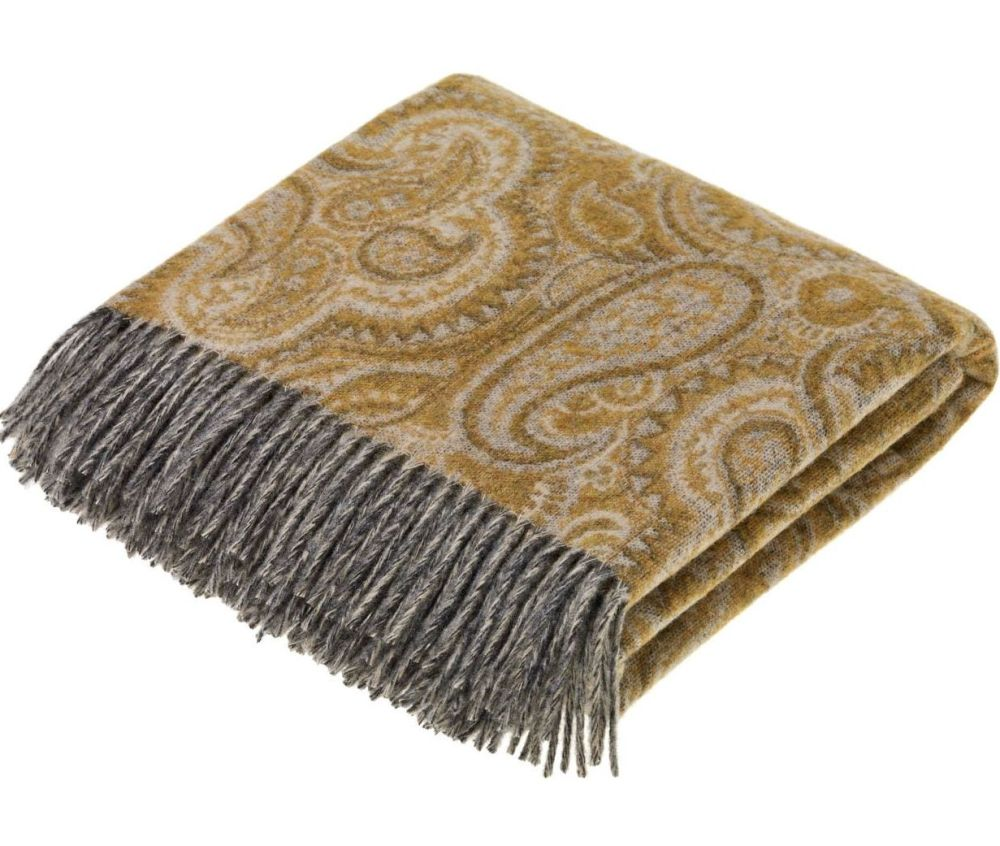 BRONTE by Moon Paisley Ochre Gold Throw in Supersoft Merino Lambswool