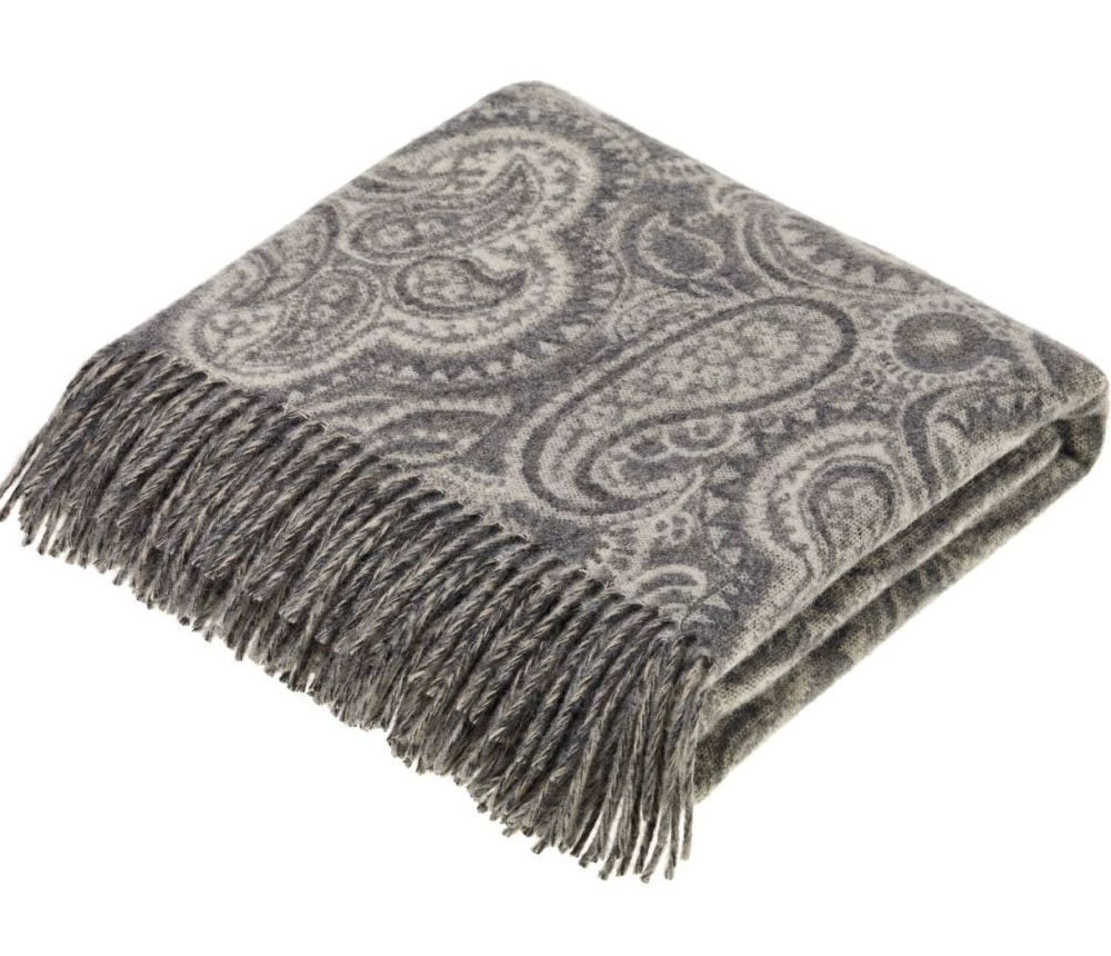 BRONTE by Moon Paisley Slate Grey Throw in Supersoft Merino Lambswool