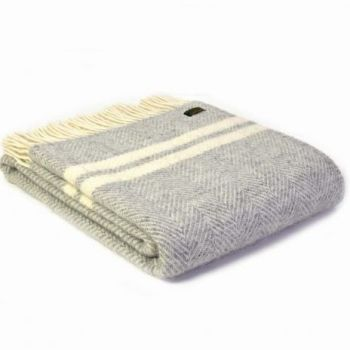Tweedmill Silver Grey & Cream Herringbone Knee Rug, Small Blanket Throw Pure New Wool