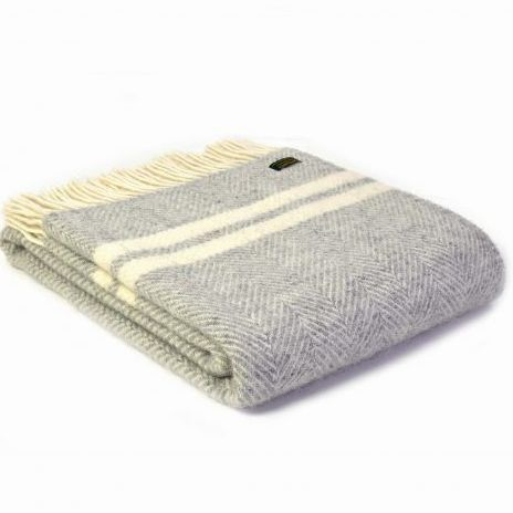 Tweedmill Silver Grey & Cream Herringbone Knee Rug, Small Blanket Throw Pur