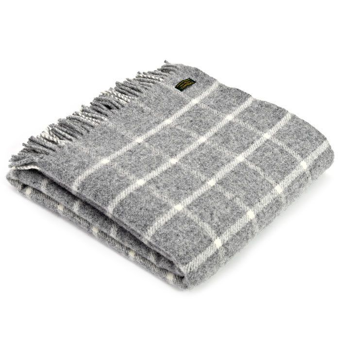 Tweedmill Classic Check Grey & Cream Knee Rug or Small Blanket Pure New Woo