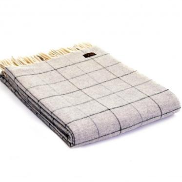 Tweedmill Merino Lambswool Soft Grey Check Throw