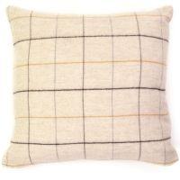 Tweedmill Merino Lambswool Soft Beige Check Cushion 50 x 50 cm